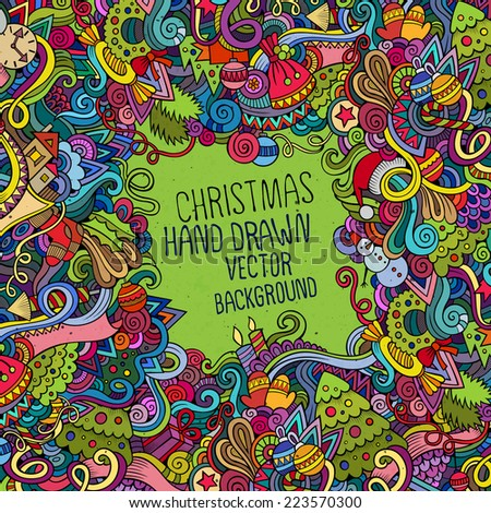 Cartoon vector doodles hand drawn New Year and Christmas background - stock vector