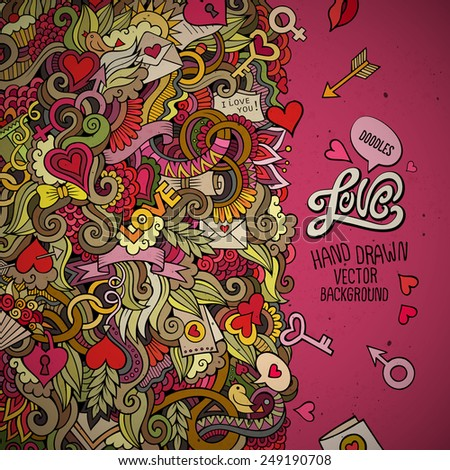 Cartoon vector doodles hand drawn Valentines Day background - stock vector