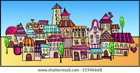 cartoon vector drawing town