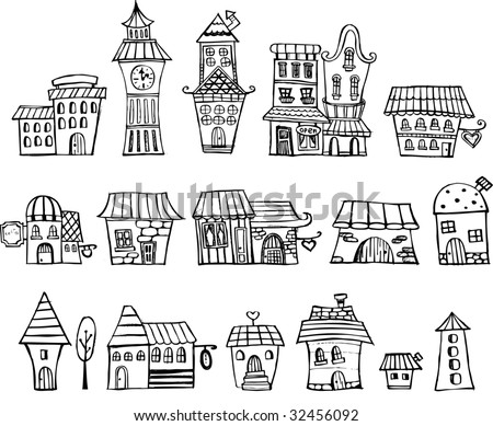 Cartoon vector fairy tale drawing houses. Series separate lodge. - stock vector