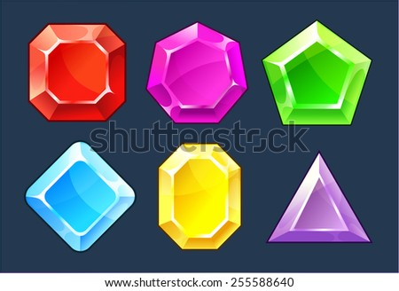 Cartoon vector gems and diamonds icons set in different colors with different shapes - stock vector