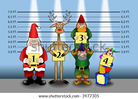 cartoon vector graphic depicting Santa and friends in a police line-up - stock vector