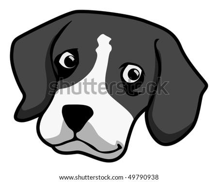cartoon vector gray scale illustration Beagle dog - stock vector