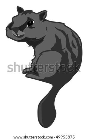 cartoon vector gray scale illustration chipmunk