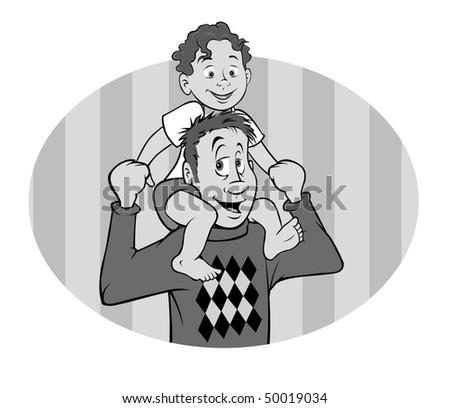 cartoon vector gray scale illustration father son - stock vector