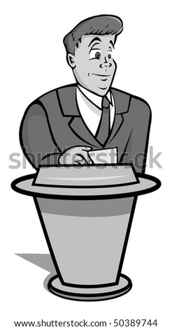 cartoon vector gray scale illustration game show host
