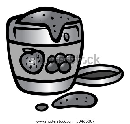 cartoon vector gray scale illustration jelly