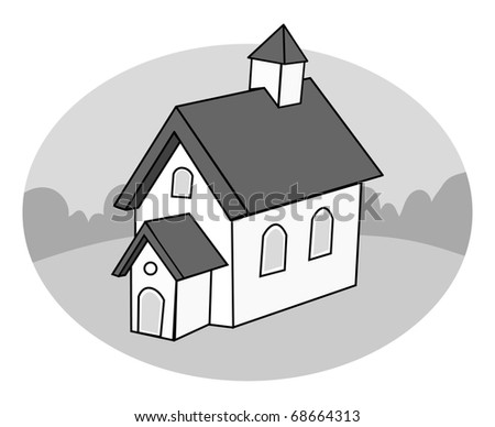 cartoon vector gray scale illustration of a schoolhouse