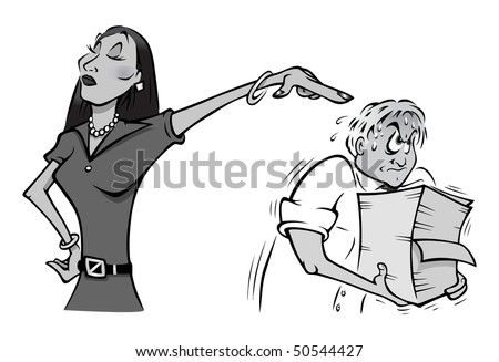 cartoon vector gray scale illustration office intern manager - stock vector