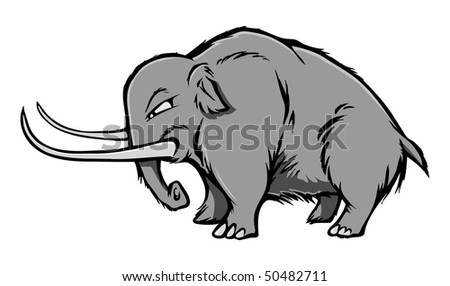 cartoon vector gray scale illustration woolly mammoth - stock vector