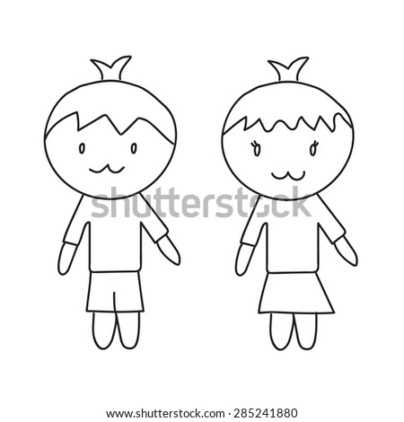 Cartoon vector hand drawn - stock vector