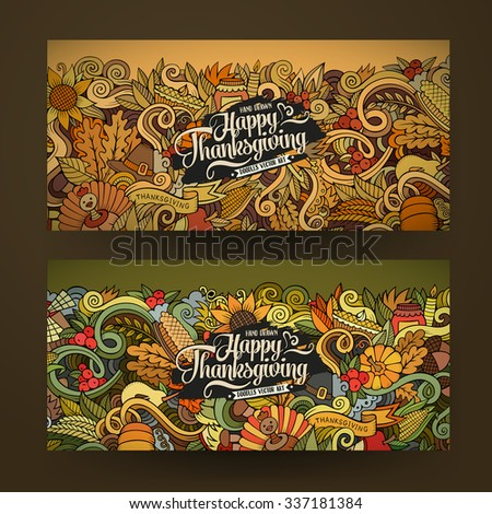 Cartoon vector hand-drawn Doodle Happy Thanksgiving Day cards. Horizontal banners design templates set - stock vector