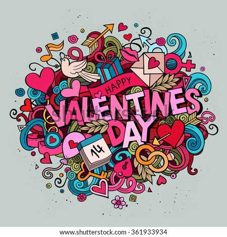 Cartoon vector hand drawn Doodle Happy Valentines Day illustration. Colorful detailed design background with objects and symbols. All objects are separated - stock vector