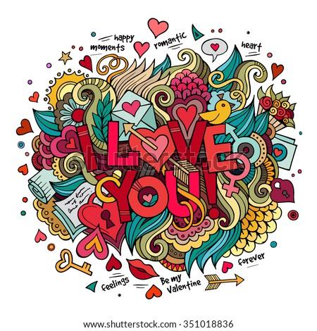 Cartoon Vector Hand Drawn Doodle Love Lager-vektor ...