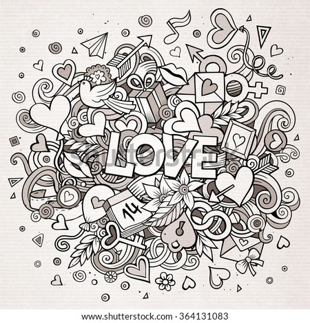 Cartoon Vector Hand Drawn Doodle Love Stock Vector ...