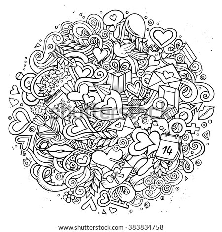 Cartoon vector hand drawn Doodle Love illustration. Line art sketchy detailed circle design background with objects and symbols. All objects are separated - stock vector