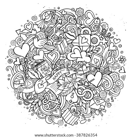Cartoon vector hand drawn Doodle Love illustration. Line art sketchy detailed design background with objects and symbols. All objects are separated - stock vector