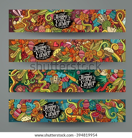 Cartoon vector hand-drawn Doodle on the subject of Easter. Horizontal banners design templates set - stock vector