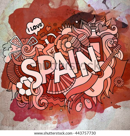 Spain background stock images royalty free images vectors cartoon vector hand drawn doodle spain illustration watercolor detailed design background with objects and symbols voltagebd Gallery