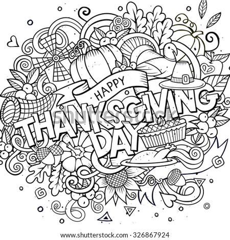 Cartoon vector hand drawn Doodle Thanksgiving illustration. Sketchy design background with objects and symbols.