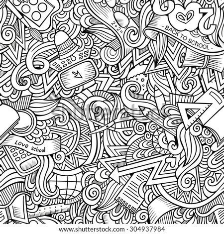 Cartoon vector hand drawn Doodles on the subject of school and education seamless pattern. Sketchy background - stock vector