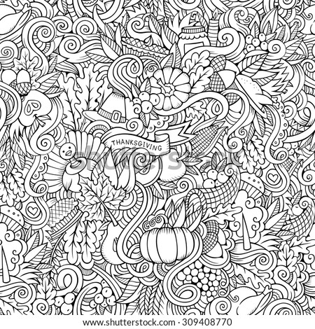 Cartoon vector hand-drawn Doodles on the subject of Thanksgiving autumn symbols, food and drinks seamless pattern. Contour background - stock vector