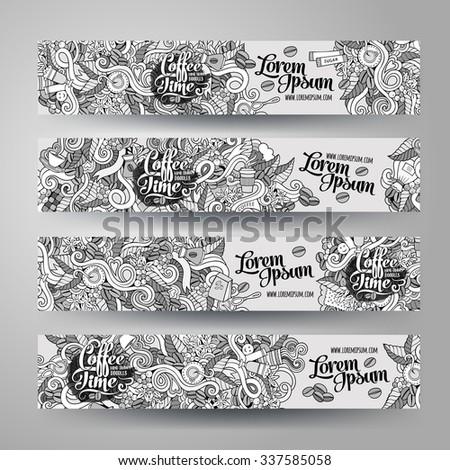 Cartoon vector hand-drawn sketchy Doodle on the subject of coffee. Horizontal banners design templates set - stock vector