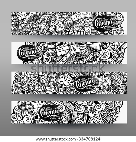 Cartoon vector hand-drawn sketchy trace Doodle on the subject of cinema. Horizontal banners design templates set - stock vector
