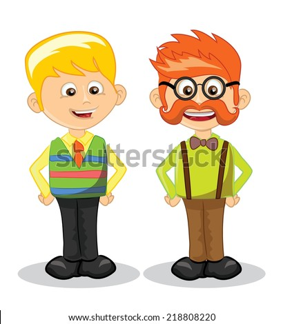 Cartoon vector hipster characters
