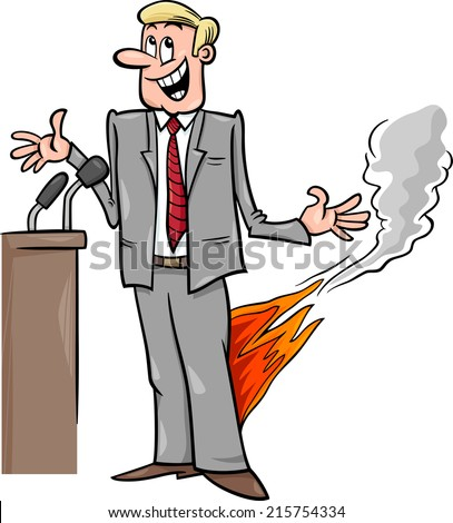 Cartoon Vector Humor Concept Illustration of Pants on Fire Saying or Proverb