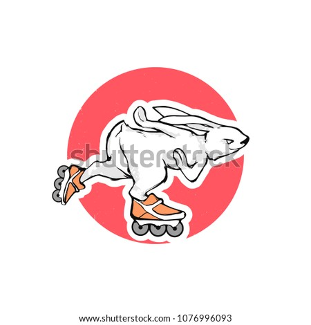 Cartoon vector illustration - Bunny roller skates