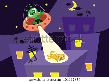 Cartoon vector illustration. Cat escapes on a roof from alien - stock vector