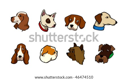 cartoon vector illustration dog collection - stock vector