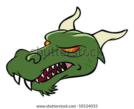 cartoon vector illustration dragon head - stock vector