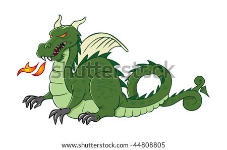 cartoon vector illustration dragon medieval - stock vector