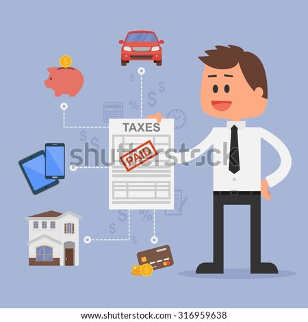 Cartoon vector illustration for financial management and taxes concept. Happy businessman paid all taxes. Car, house, tax, savings and credit cards icons. Flat design. - stock vector