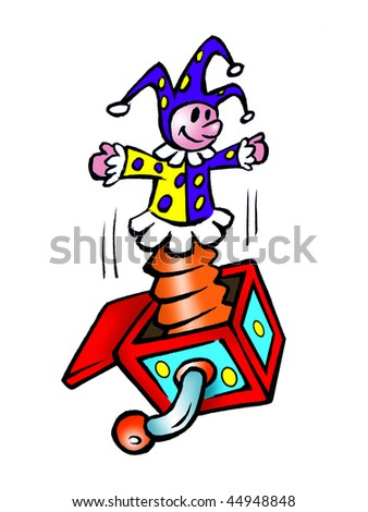 cartoon vector illustration jack in box - stock vector