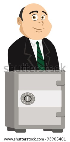 cartoon vector illustration of a banker and safe