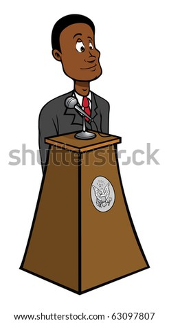 cartoon vector illustration of a black President podium