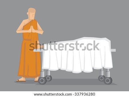 Cartoon vector illustration of a Buddhist monk in yellow robe standing with palms together by dead body covered in white sheet on wheeled bed. - stock vector