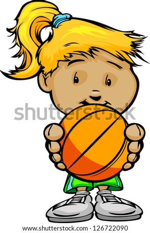 Cartoon Vector Illustration of a Cute Girl Basketball Player with Hands Holding Ball - stock vector