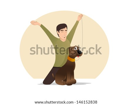 cartoon vector illustration of a dog owner celebrating
