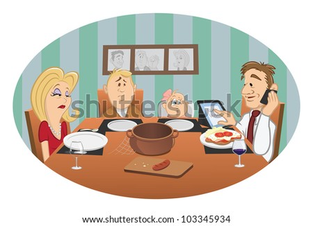 Cartoon Vector Illustration Of A Family Dinner