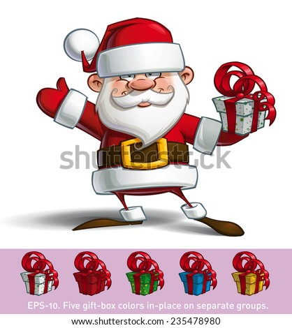 Cartoon vector illustration of a happy Santa Claus holding a gift. All gift colors are in-place in separate groups. - stock vector