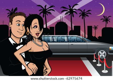 cartoon vector illustration of a Hollywood red carpet couple - stock vector