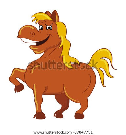 cartoon vector illustration of a horse happy