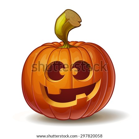 Cartoon vector illustration of a Jack-O-Lantern pumpkin curved in a funny expression, isolated on white. Neatly organized and easy to edit EPS-10