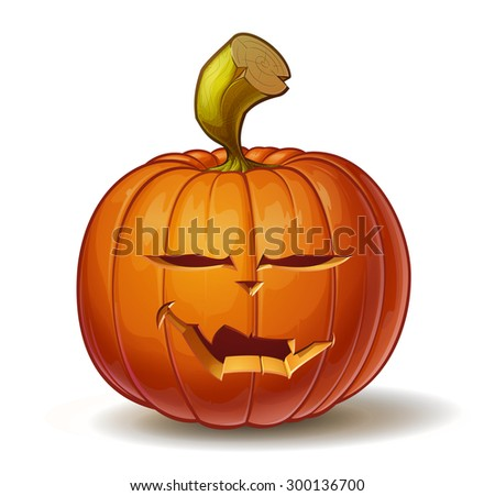 Cartoon vector illustration of a Jack-O-Lantern pumpkin curved in a vampire expression, isolated on white. Neatly organized and easy to edit EPS-10 - stock vector