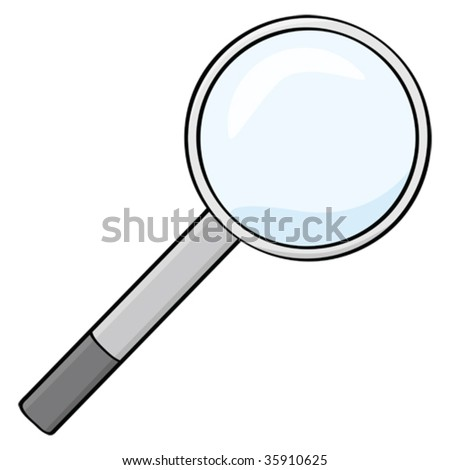 Cartoon vector illustration of a magnifying glass