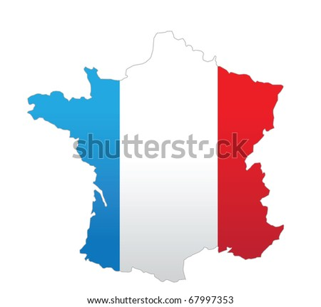 cartoon vector illustration of a map of France - stock vector